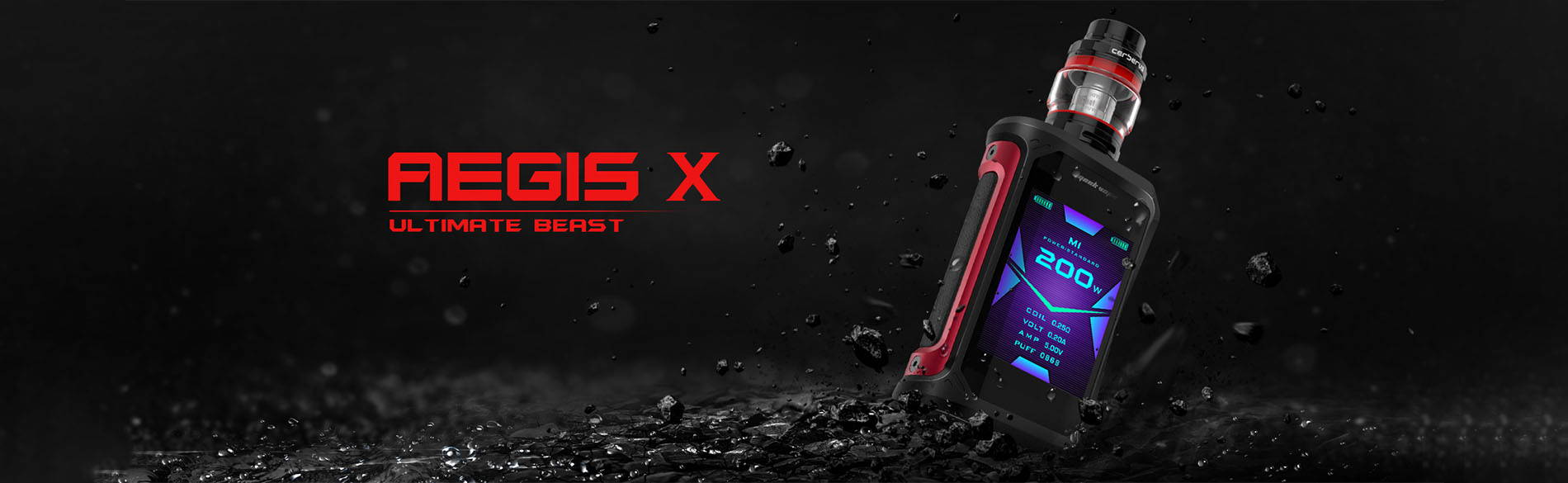 Geekvape Aegis X kit with Cerberus tank black and red