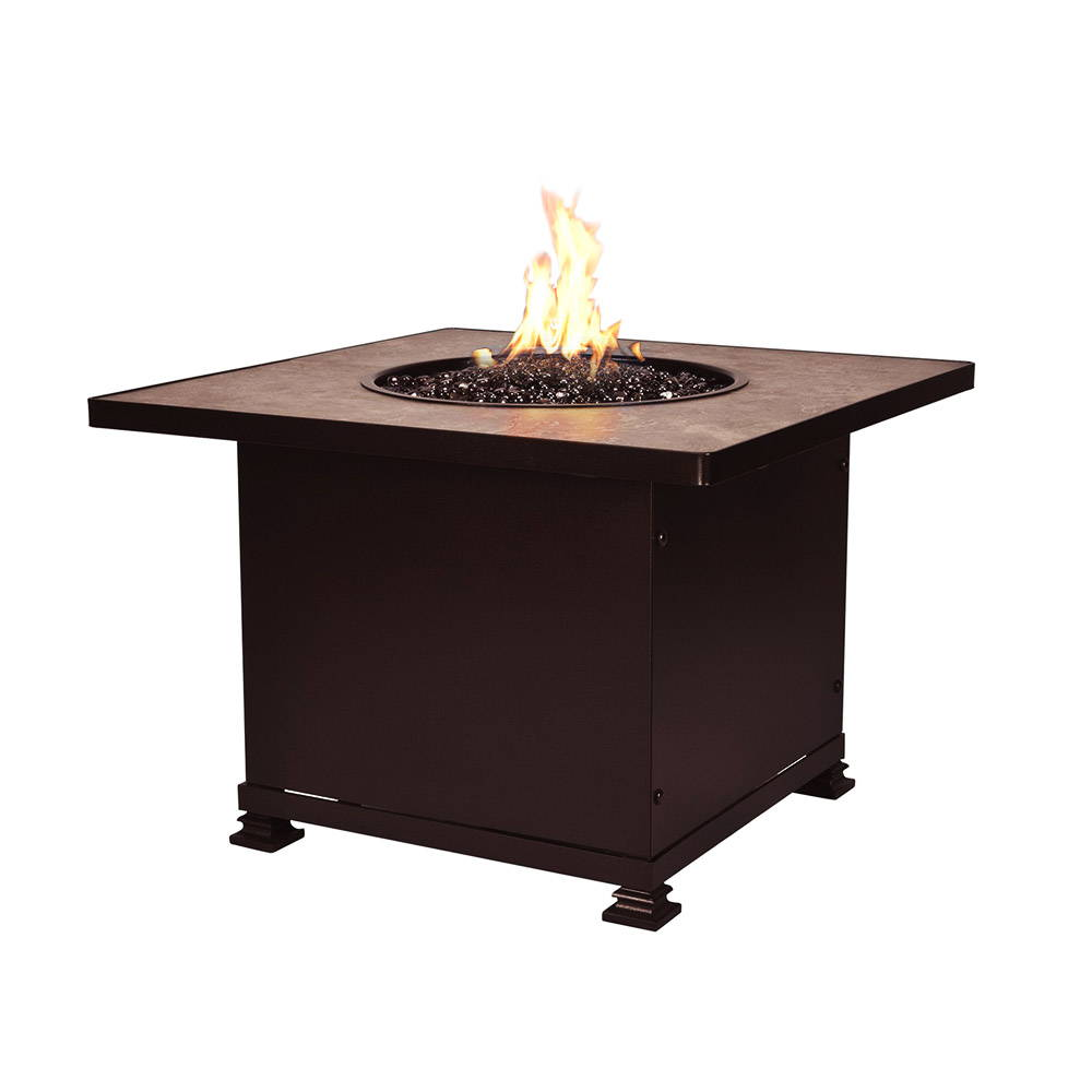 A square shaped fire pit ignited