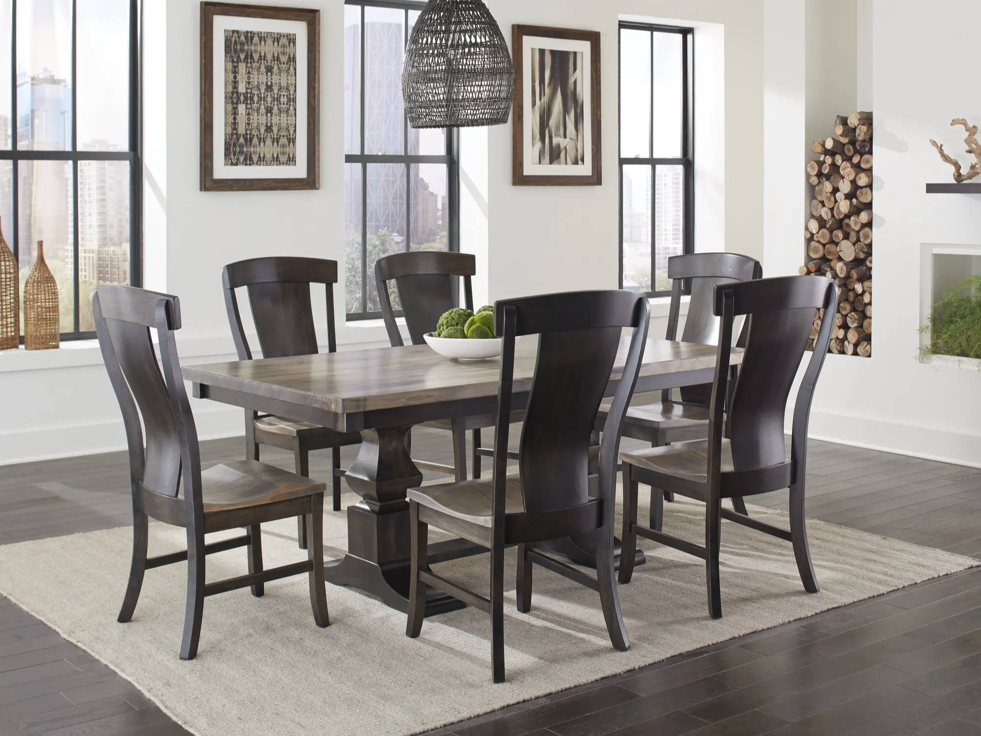 dining room scene with chairs around a dining table. Dining table top has a square edge