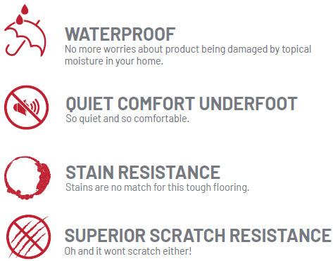 waterproof, quiet comfort underfoot, stain resistance, super scratch resistance