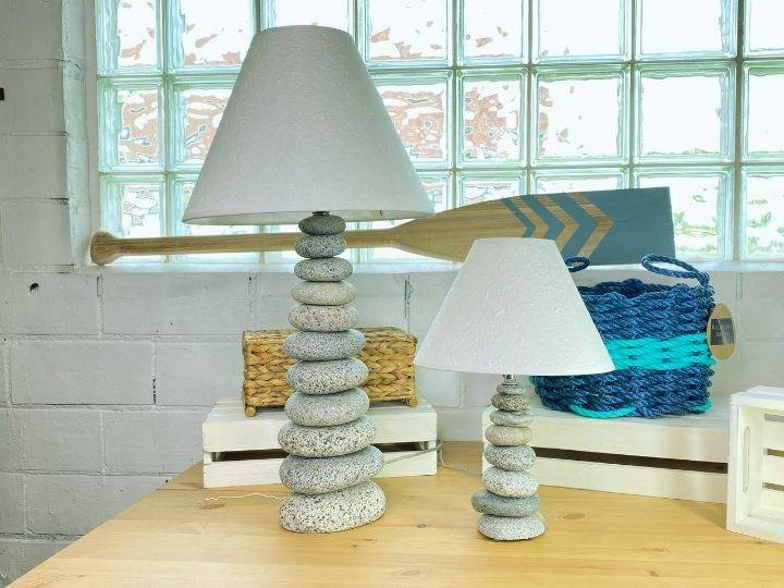 Stacked Stone Lamp, Handcrafted from Beach and River Rocks, Coastal Home Decor