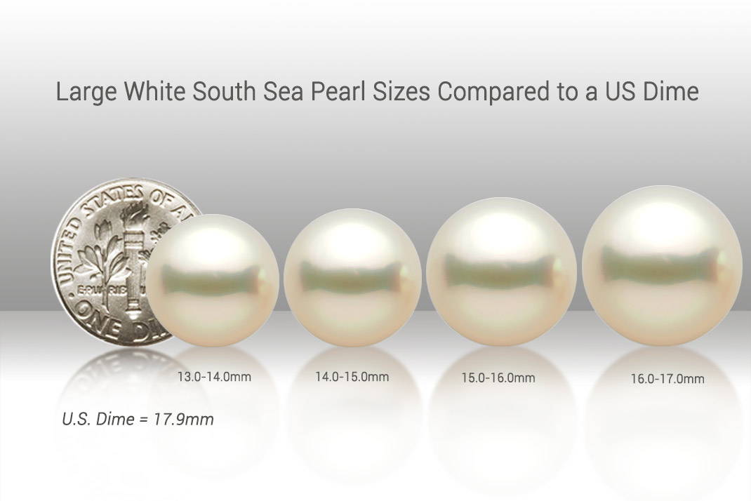 Large South Sea Pearl Sizes Compared to a US Dime