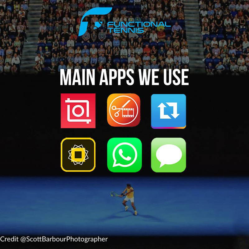The main apps Functional Tennis uses to run its Instagram account