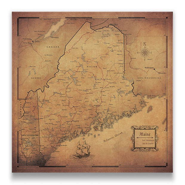 Maine Push pin travel map golden aged