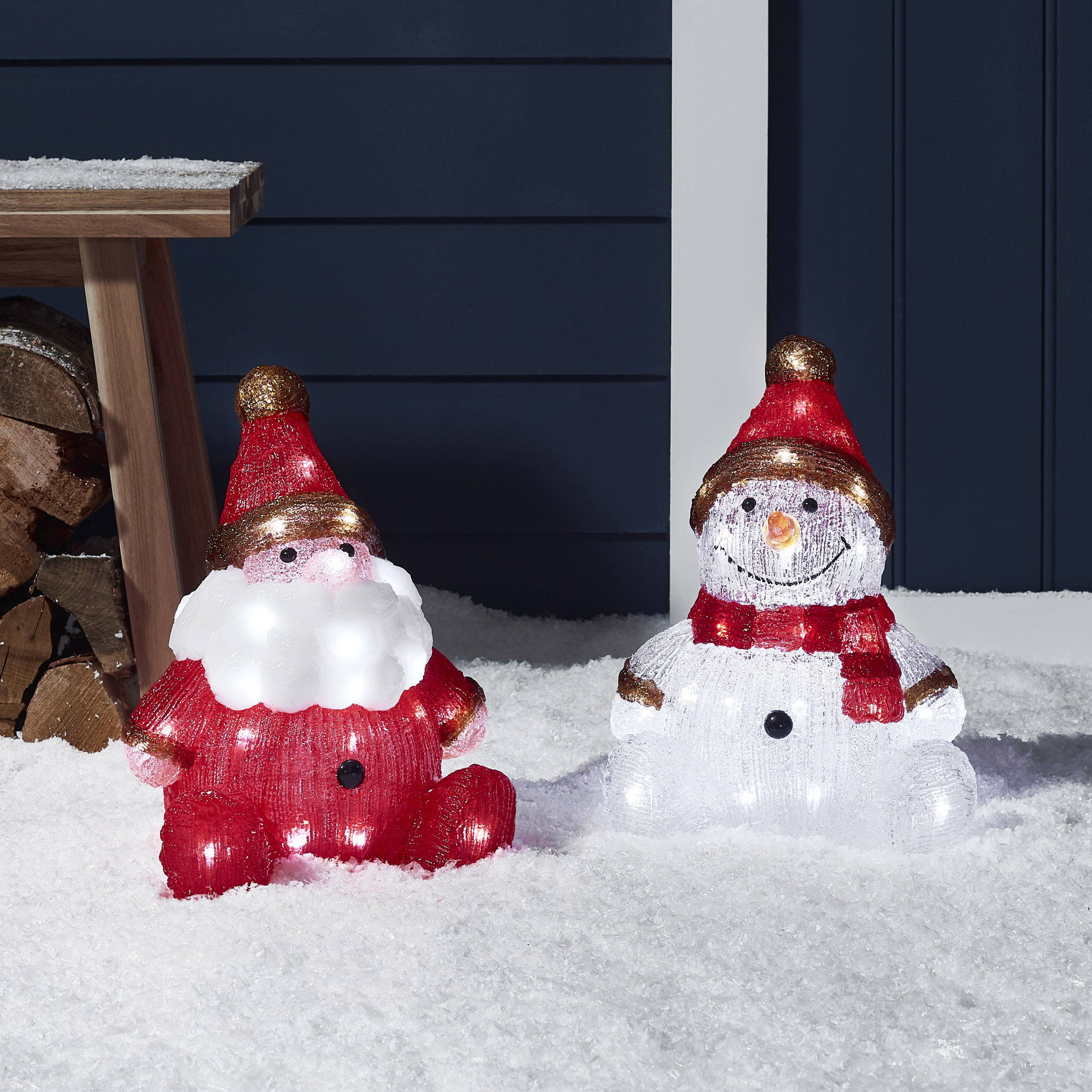 Acrylic light up Snowman and Santa Christmas figures for the outdoors