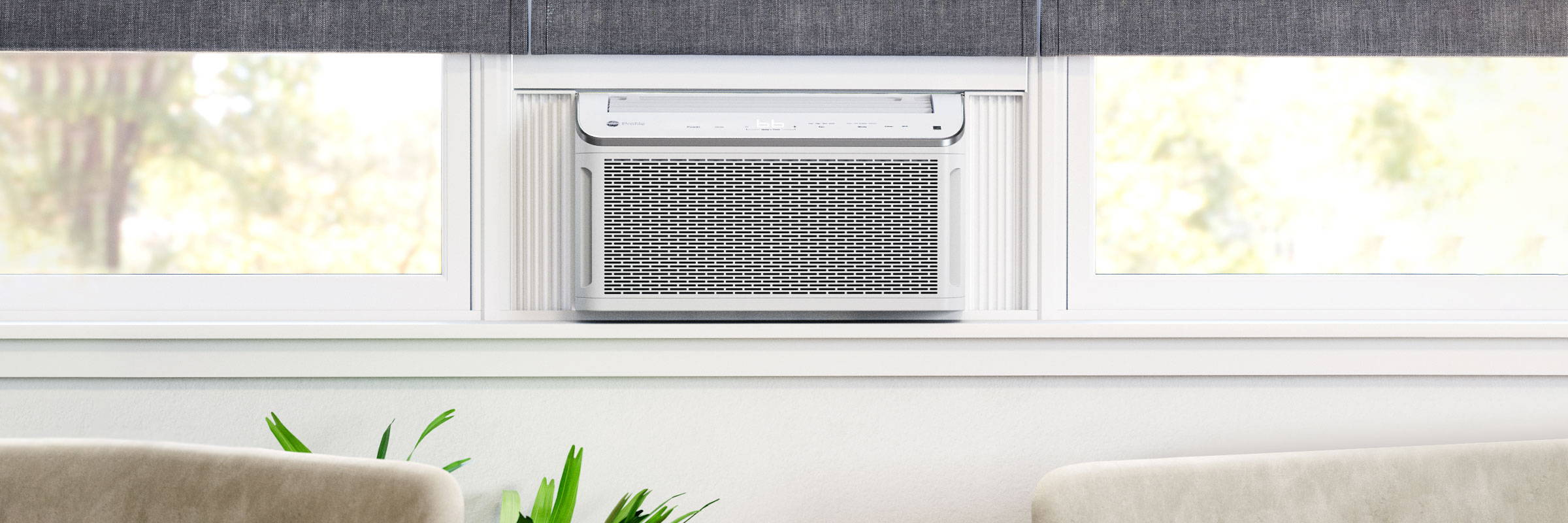 smart room air conditioner installed in a window.
