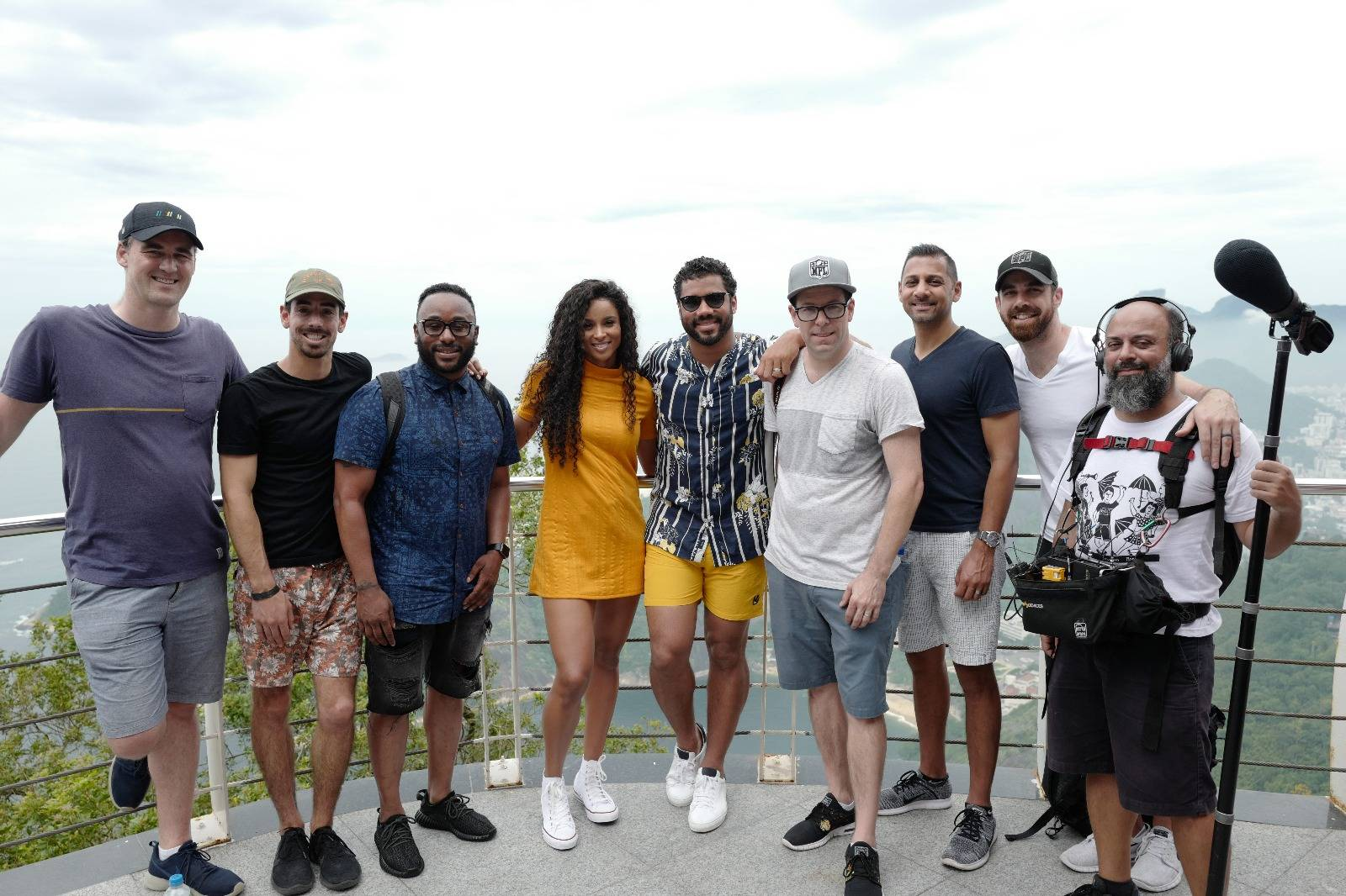 Alex and the NFL Team on their most recent trip to film Russell Wilson and Ciara in Rio de Janeiro, Brazil.