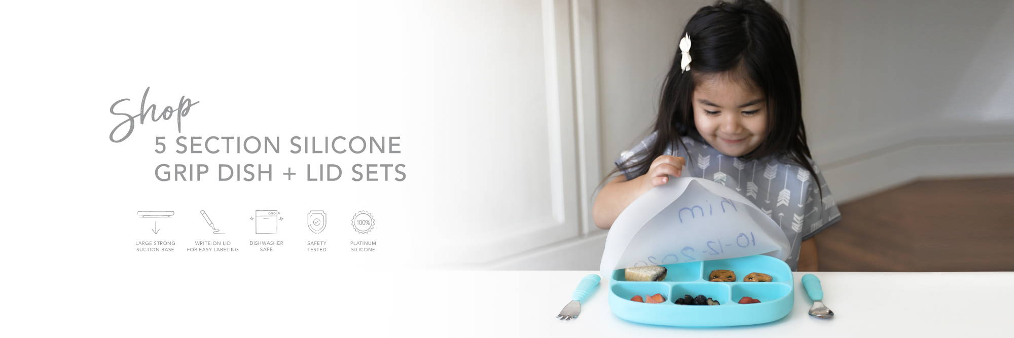 shop 5 section silicone grip dish and lid sets, strong suction base, great for baby-led weaning, encourages learning, safety tested, platinum silicone