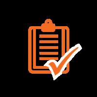 An orange icon depicting a checklist.