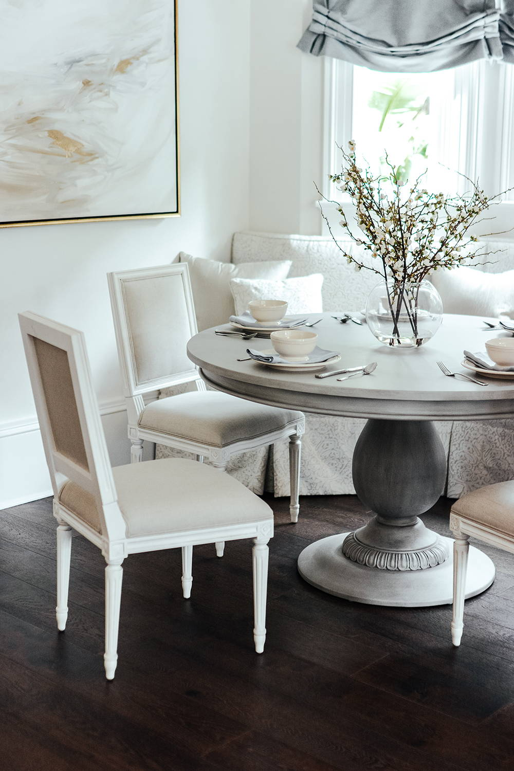 Ave Home | Charlotte Pedestal Table in Aged French Grey with Regent Dining Chairs