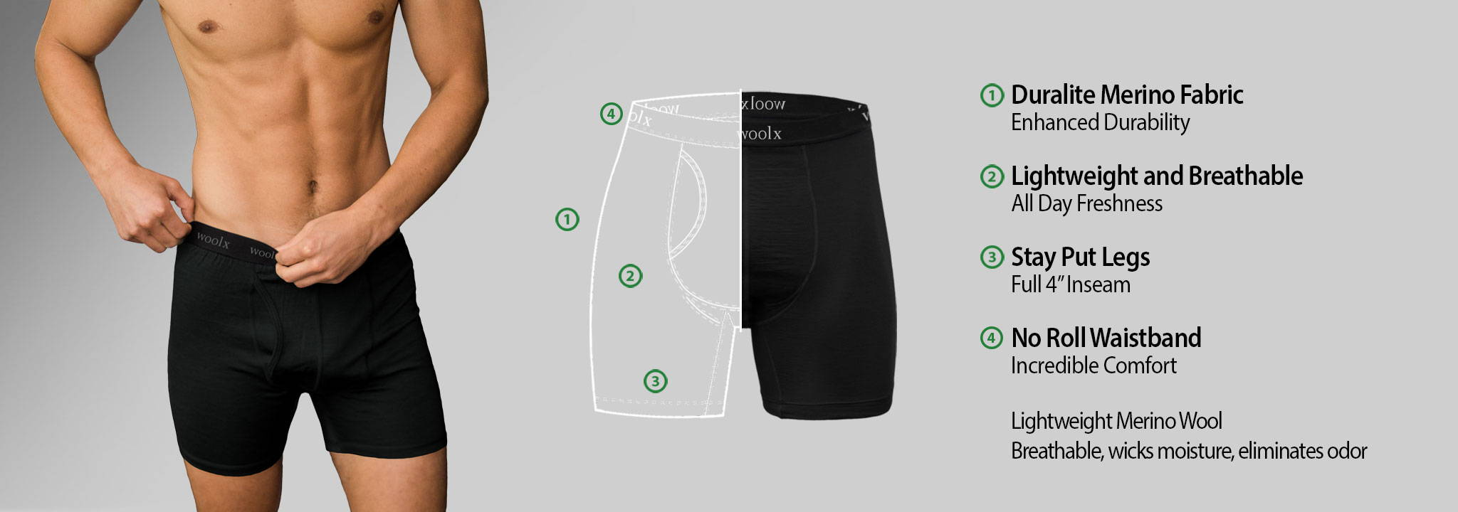 9721730a3a972 Men s Merino Wool Boxer Briefs - Durable - Lightweight - Free Shipping