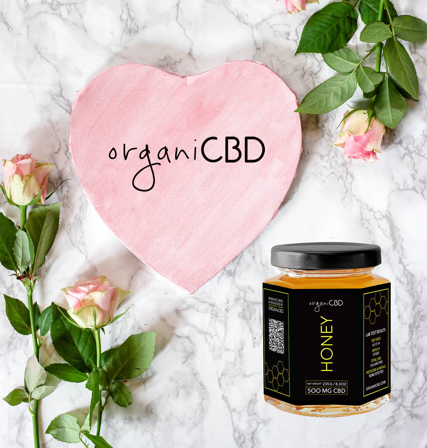 CBD Honey valentines day promotion with flowers