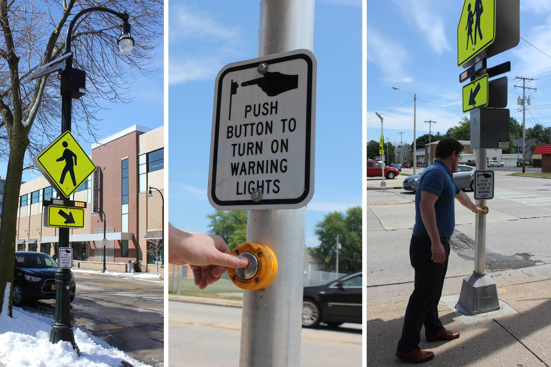 Pedestrian pressing crosswalk activation button.