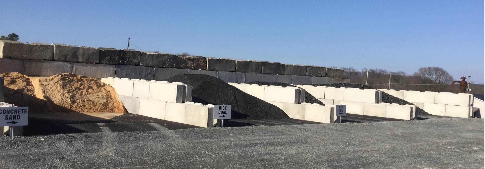 Bays of bulk material at the mill of bel air