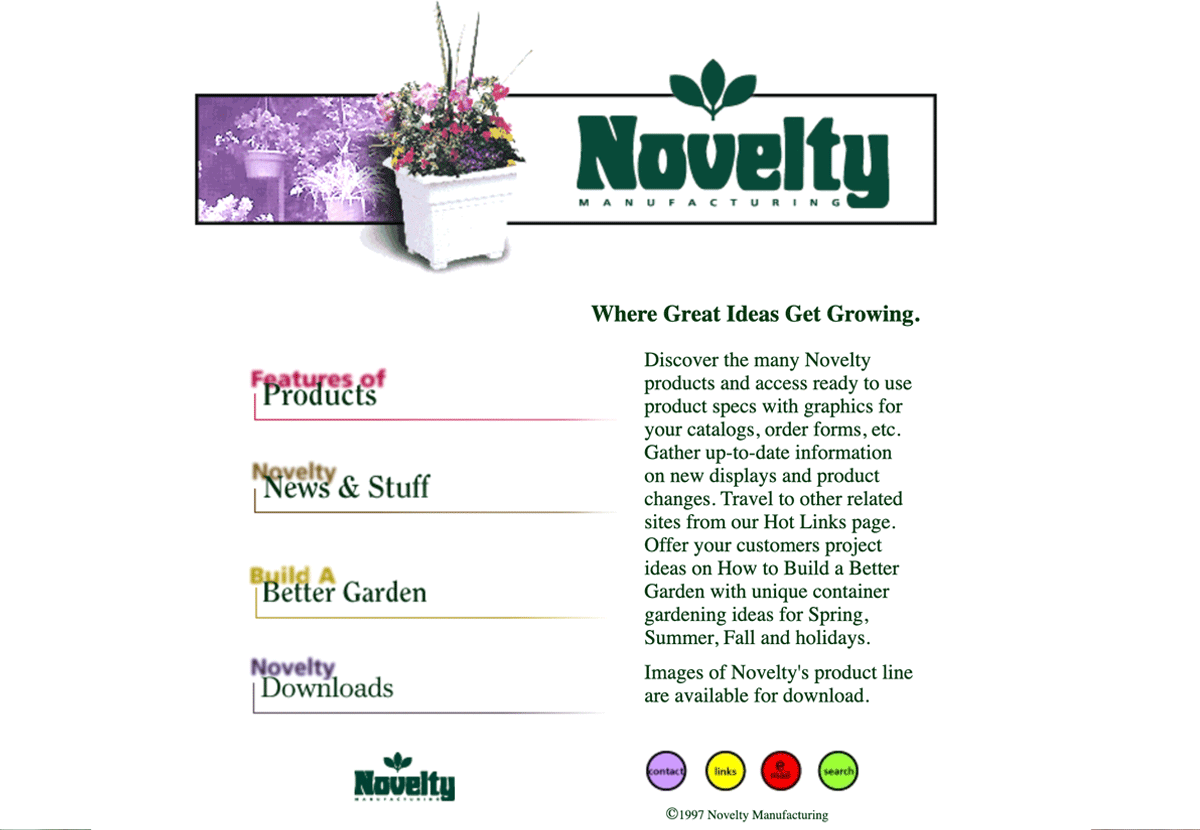Novelty's first homepage from 1997
