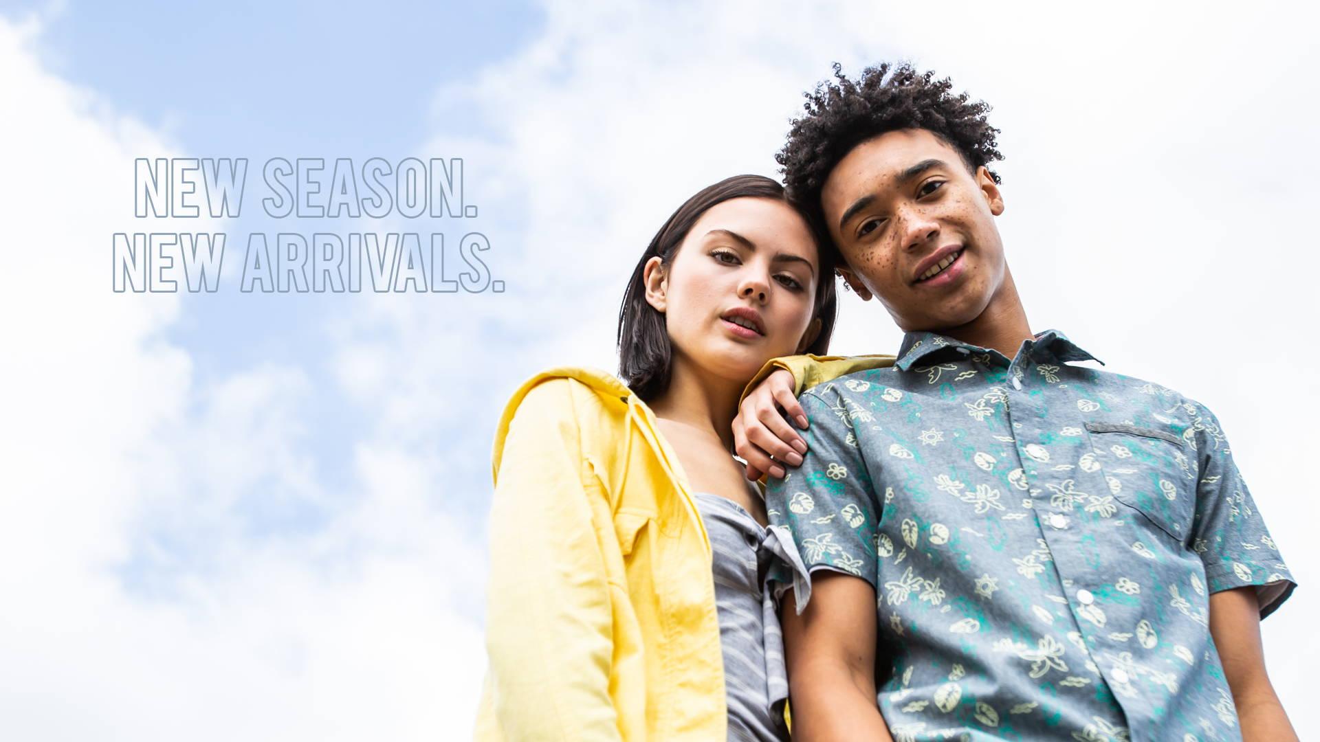 Girl wearing yellow jacket and man wearing blue button shirt