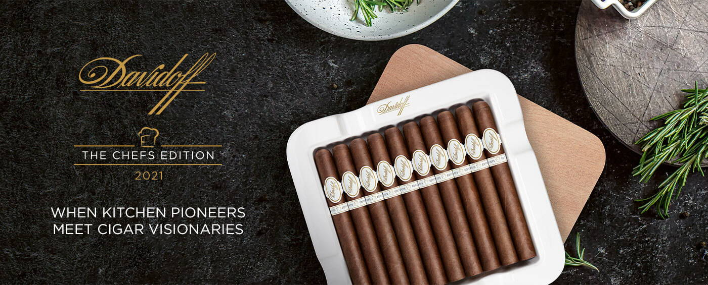 Davidoff Chefs Edition 2021 Churchill Cigars opened in its packaging which can be used as an ashtray