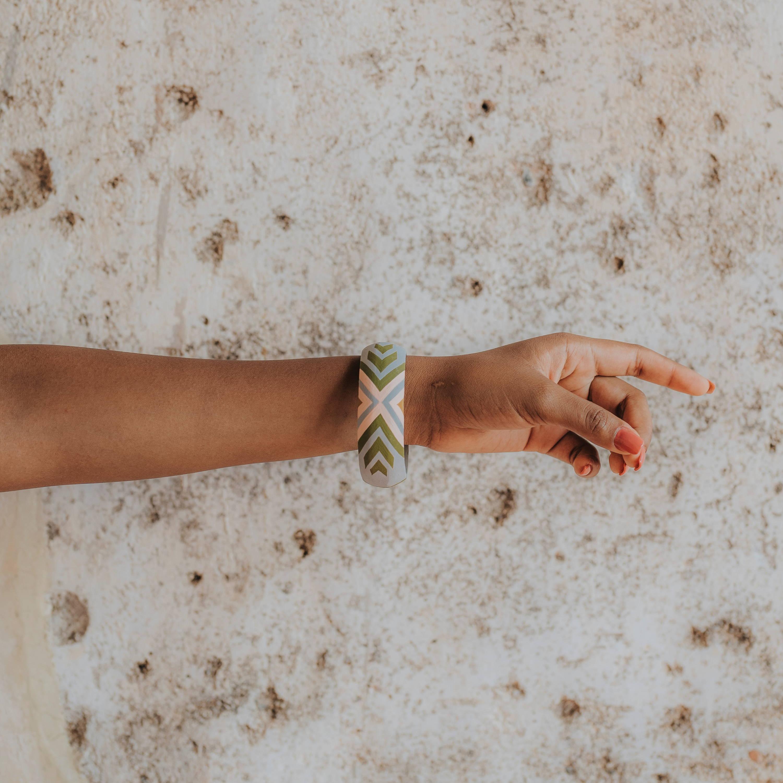 Olive Branch Wood Bangle Bracelet
