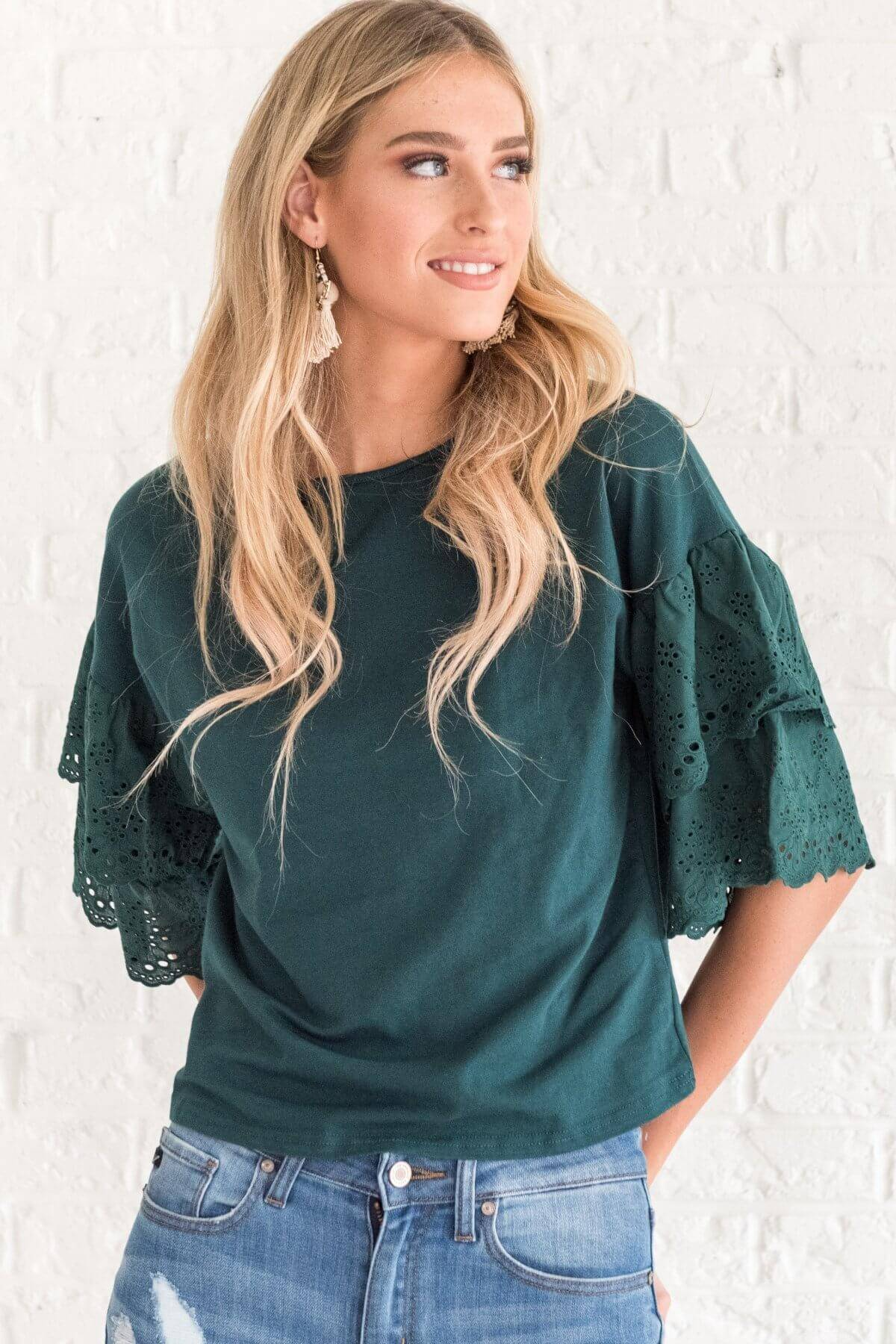 Teal Green Cute Ruffle Sleeve Crochet Half Tops Business Casual for Women