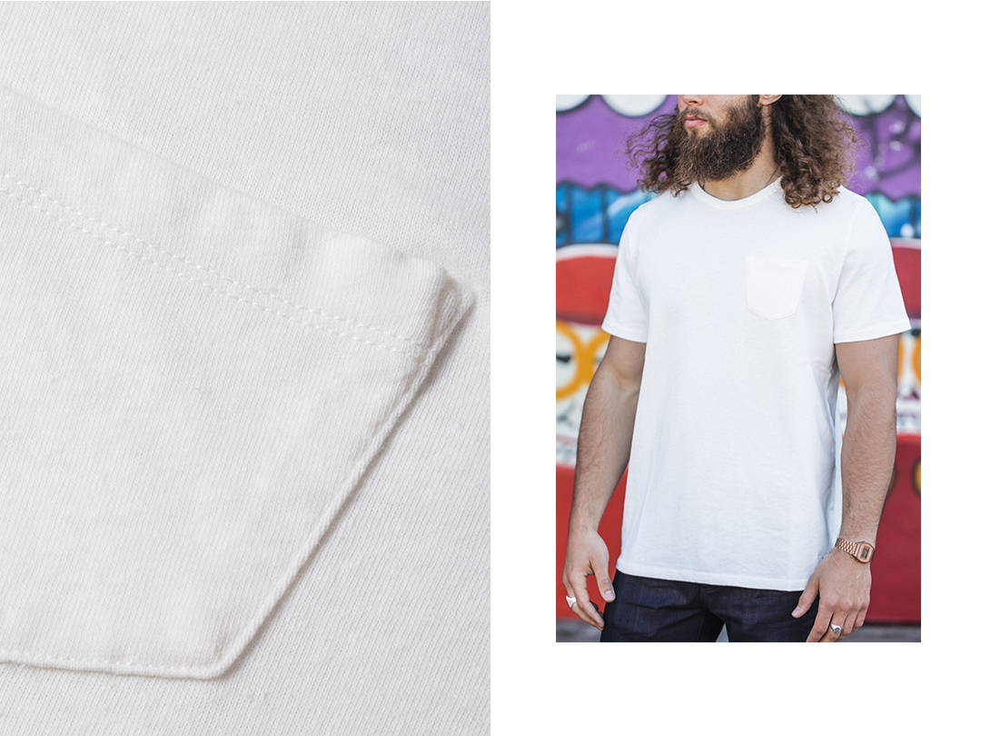 men's 100% cotton pocket tee | benzak | men's basics | made in europe | white | pocket t-shirt