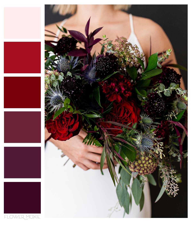 dark and moody wedding flower packages