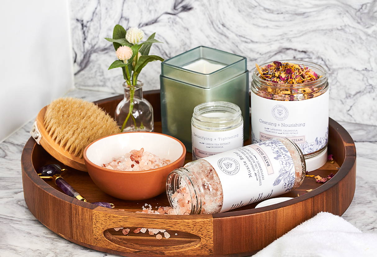 At home self-care spa day at home with Hello Wellness Naturals products