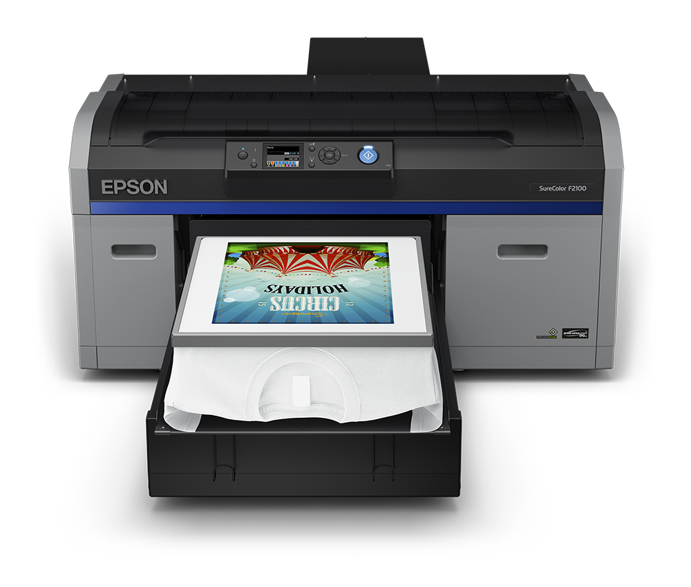 Epson SureColor F2100 - Front with Platen Hoop and White Shirt