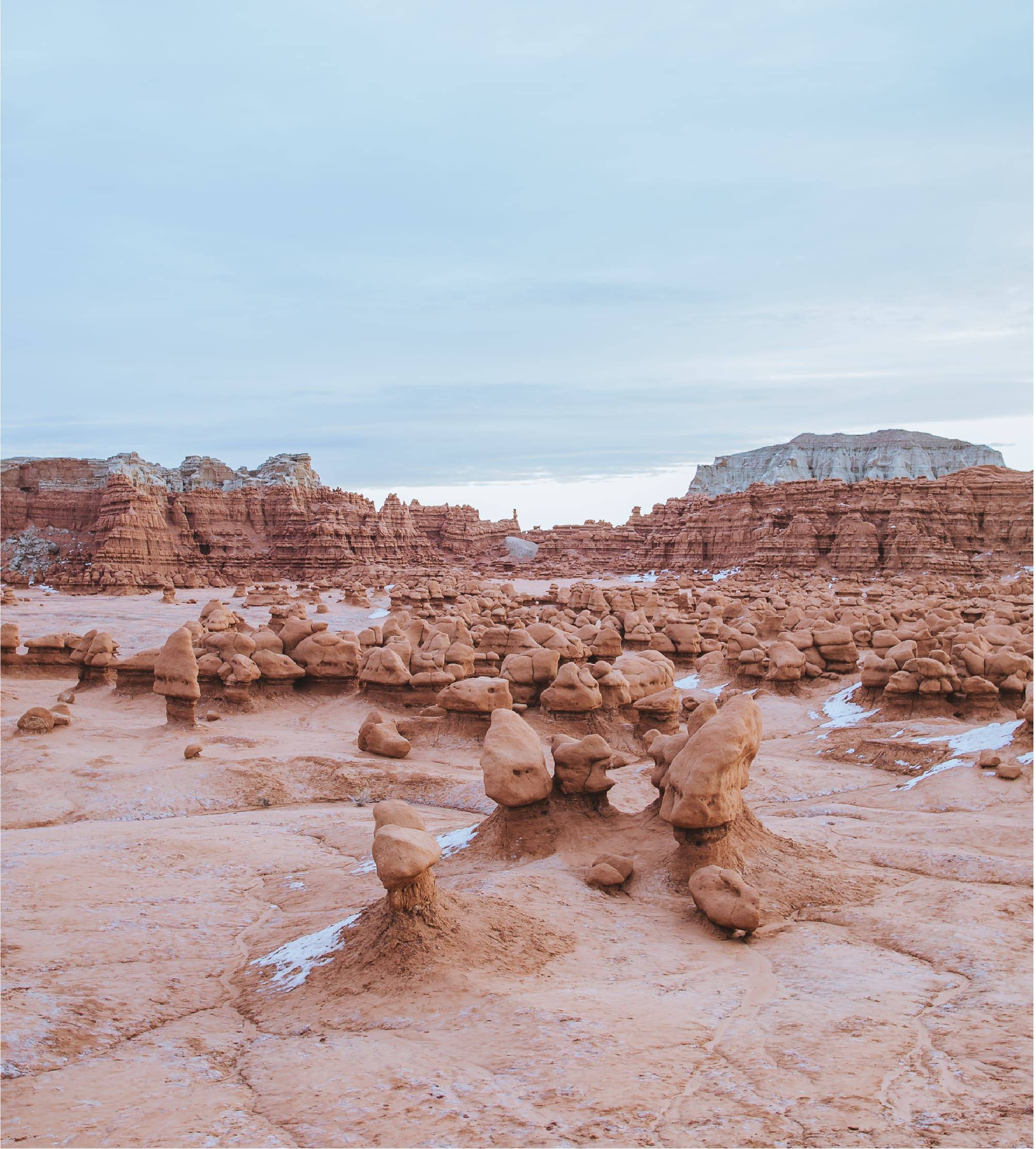 view of the hoodoos in Goblin valley
