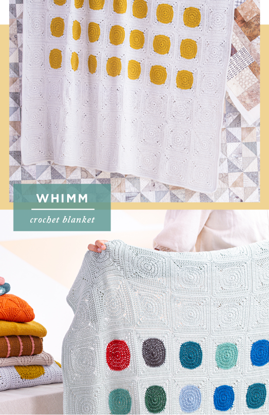 Two Images showing two samples of Whimm: crochet blanket