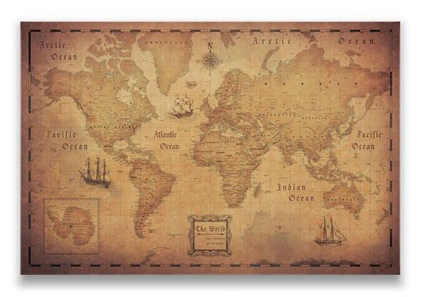 World Map Pin Board Golden Aged