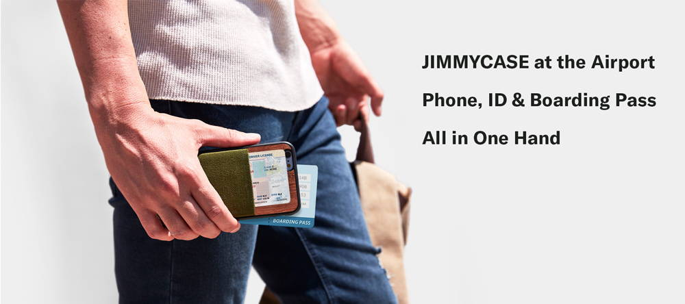 With JIMMYCASE iPhone Wallet at airport, Phone, ID, Boarding Pass All in One Hand