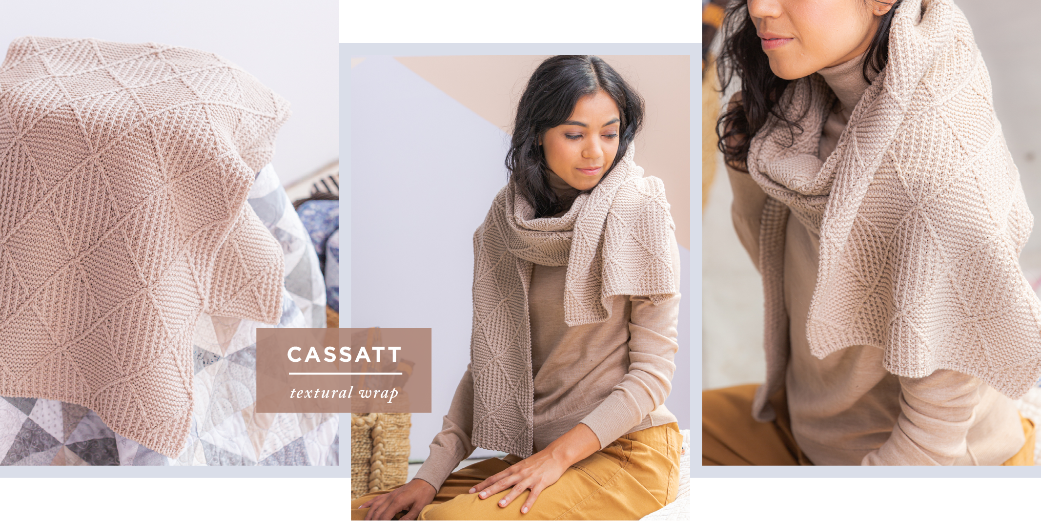 Three images showing draped, modeled and close-up views of Cassatt: textural wrap