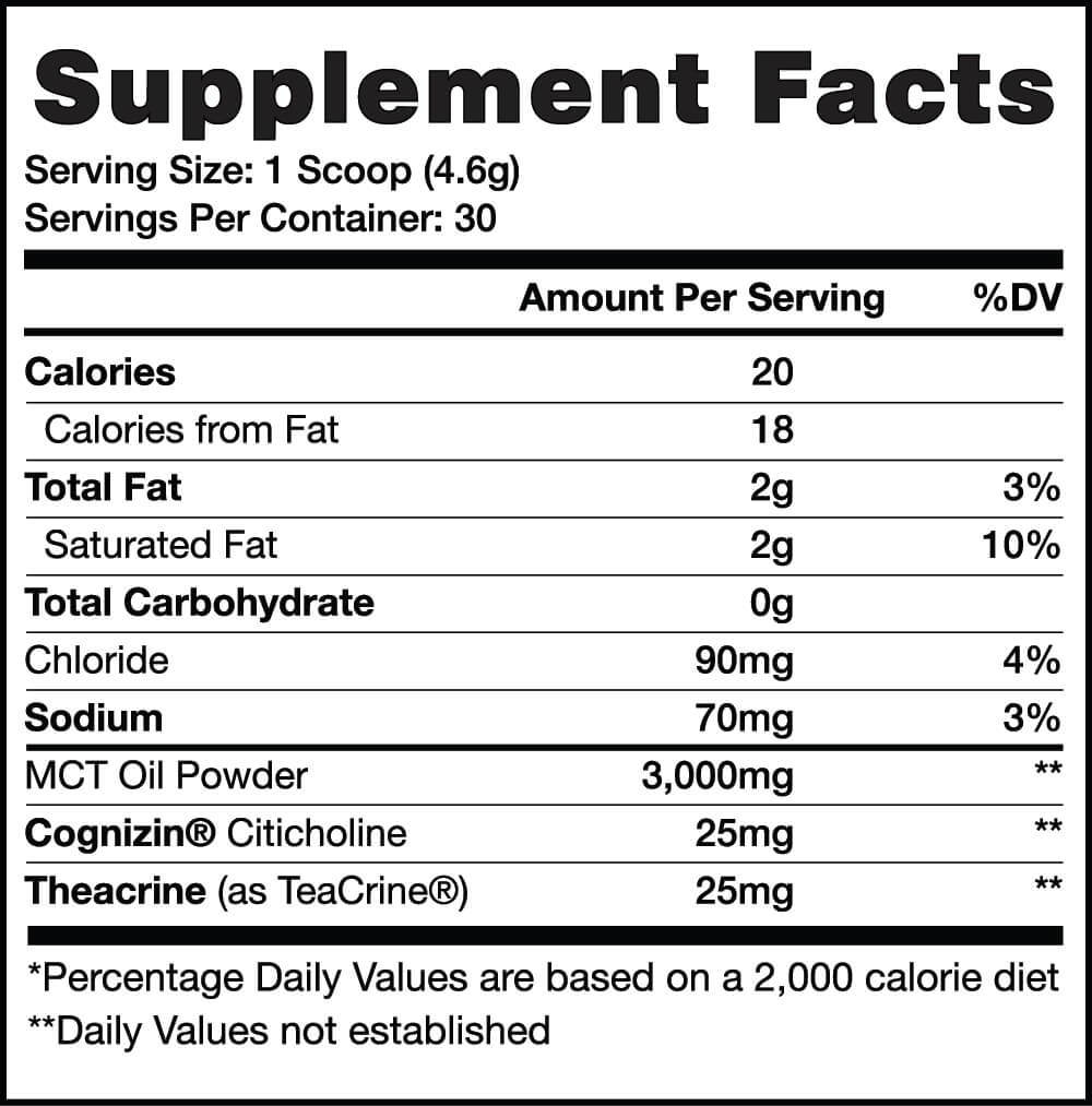 Vanilla Caramel Swirl - Supplement Facts