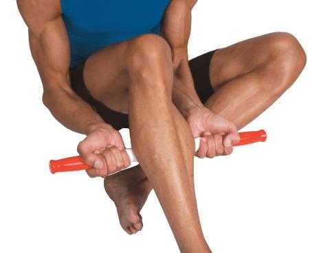 man using stick below his knee