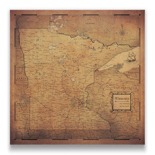 Minnesota Push pin travel map golden aged