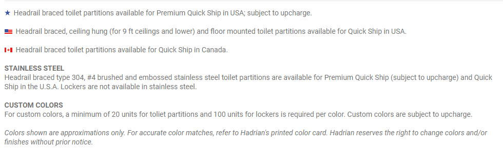 Powder Coated Steel Restroom Partitions Quick Ship Guide