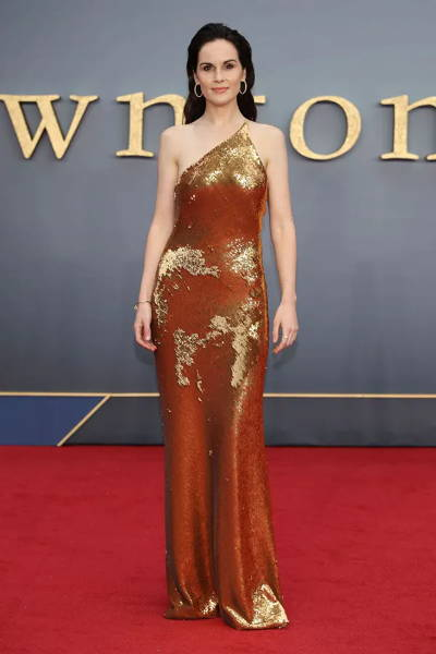 Michelle Dockery wearing Galvan London One Shoulder Sequin Gold Dress