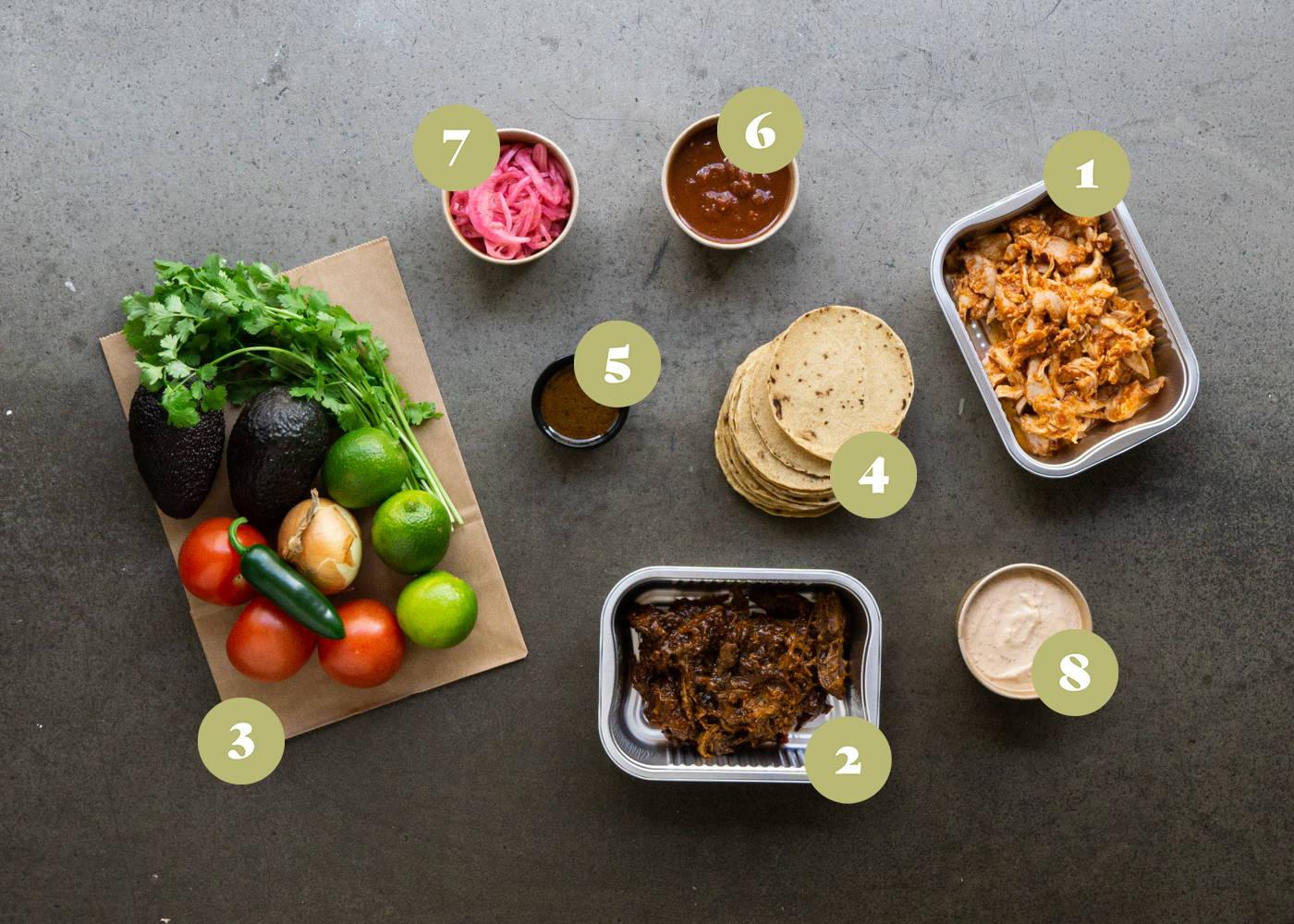 Opskrift og vejledning til Samle selv tacos med chipotle kylling og pork carnitas, blandet salsaer og toppings