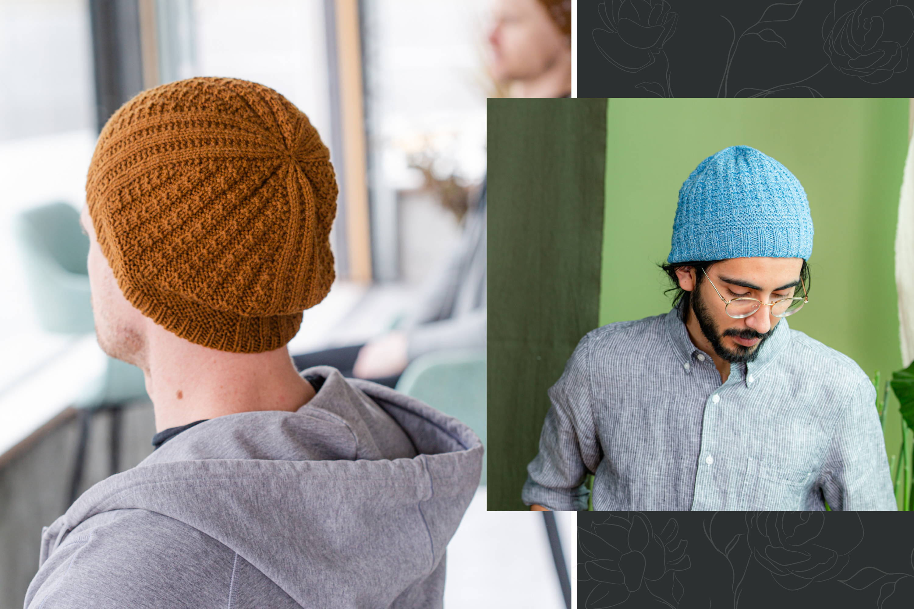 Image of Brian modeling Gault hat back view and Omar modeling Gault front view
