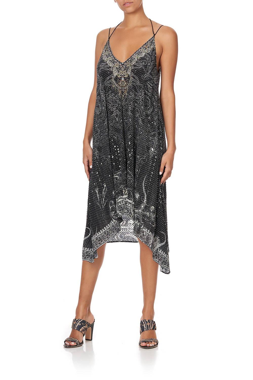 CAMILLA black and silver embellished v neck dress