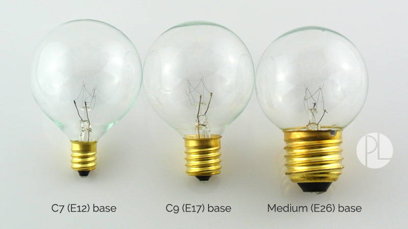 Bulb Comparison - G50 in three socket sizes