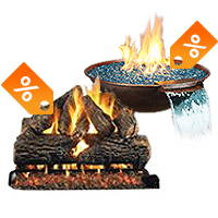 gas logs and a copper fire bowl both have sale tags displayed