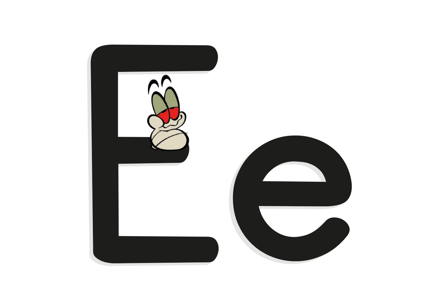 The letter E with an illustrated worm