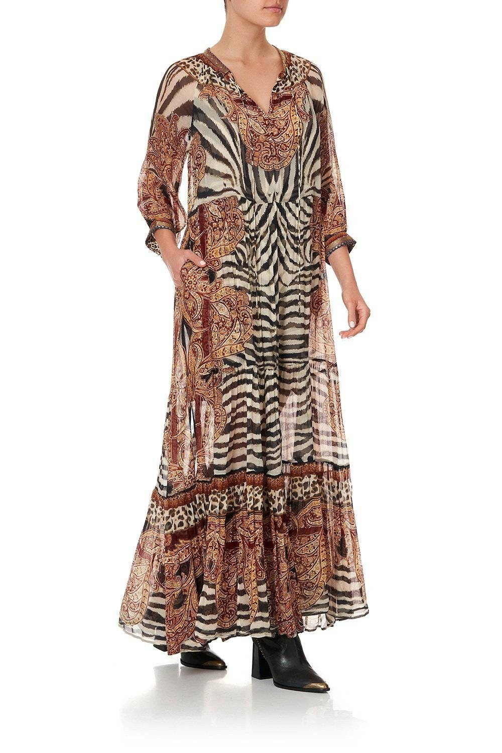 WILD FIRE LONG GATHERED PANEL DRESS