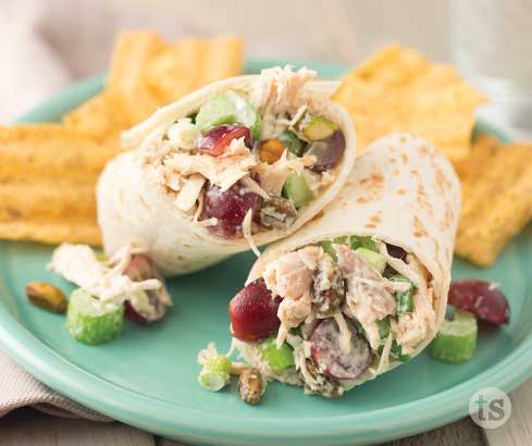 pistachio chicken salad wraps