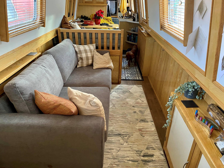 Stylish Grey Sofa in Canal Boat