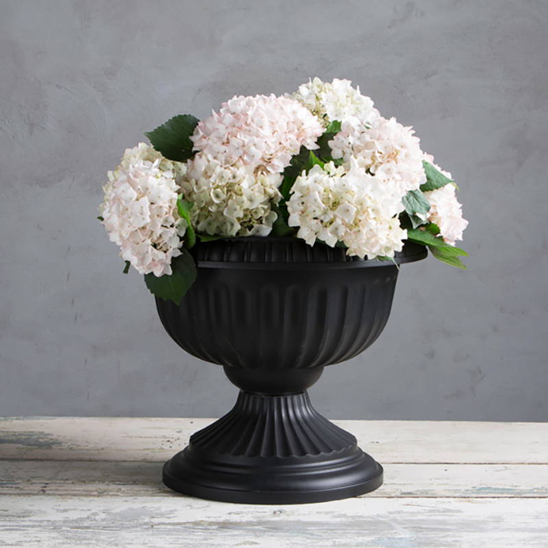 Black Grecian Urn with flowers
