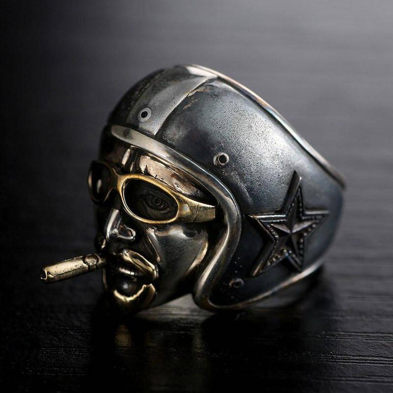 vintage pilot smoking cigar - sterling silver ring - that ring shop