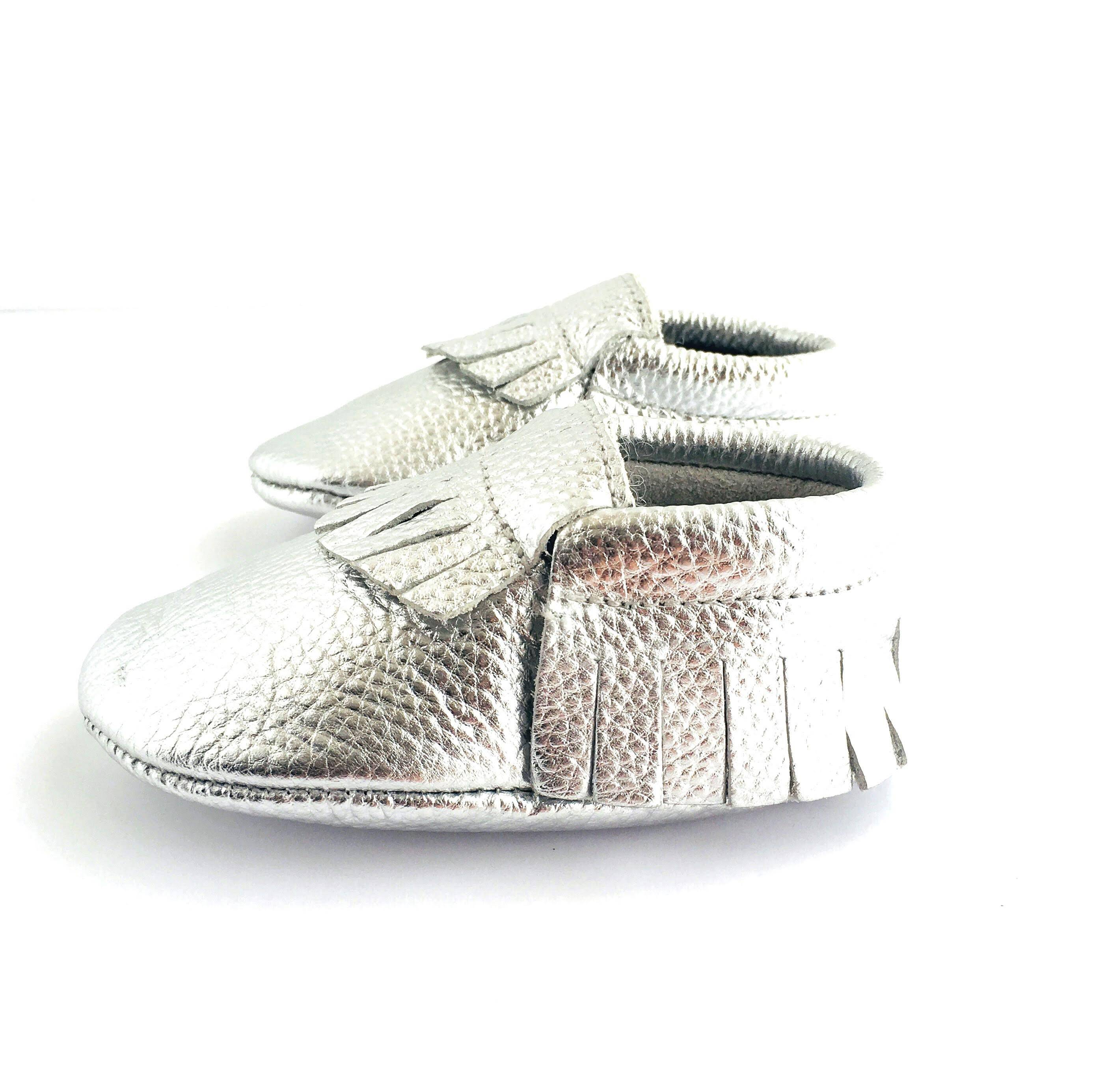 Metallic Silver colour soft sole shoes with fringe sole view