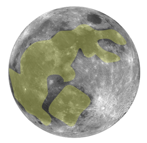 Outline of a rabbit on the moon